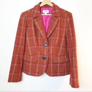 Talbots Schoolboy Blazer Peplum Wool Plaid Orange